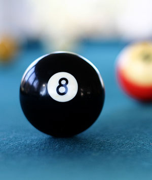 Pool table with 8 ball