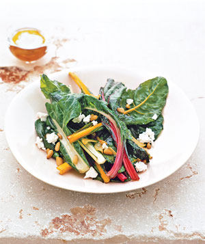 Rainbow Chard With Pine Nuts and Feta