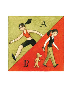Illustration of woman exercising and walking her dog