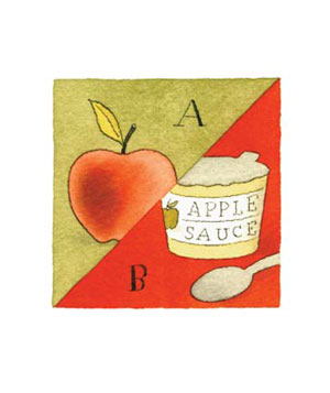 Illustration of an apple and applesauce