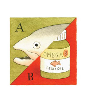 Illustration of a fish and fish oil