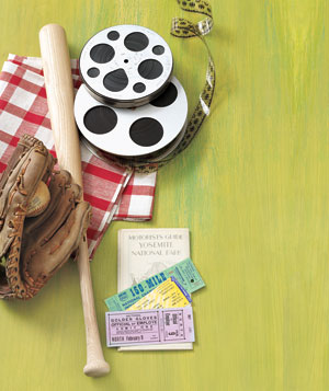 Film reel, baseball equipment, and tickets