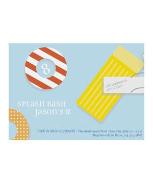 Splash Bash children's pool party invitations