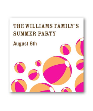 Beach Balls pool party invitations