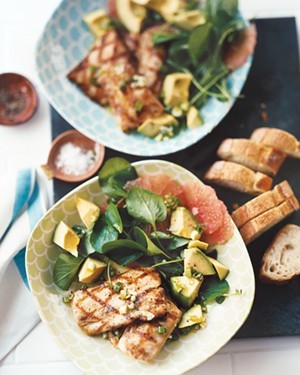 Grilled Mahimahi, Grapefruit, Avocado, and Watercress Salad