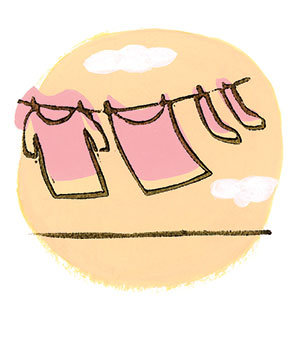 Illustration of laundry on a line