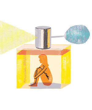 Illustration of a woman inside a perfume bottle