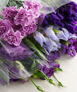 Irises, Statis, and Carnations flower bouquet