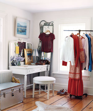 Dressing room with clothes