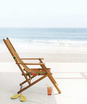 Lounge chair on beach