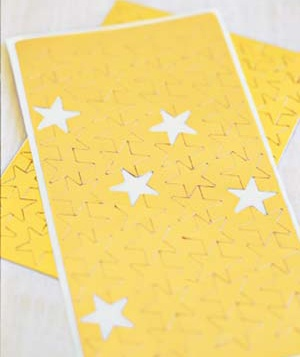 Sheet of gold star stickers