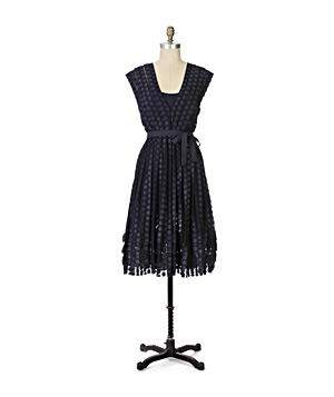 Navy dress on a dressform