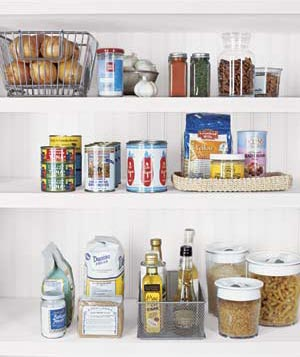 Kitchen shelves with food