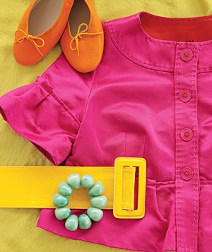 Brightly-colored clothing and accessories