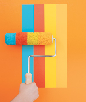Paint roller painting stripes