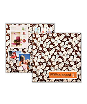 Designer Fabric Memo Board in Java Vines Chocolate