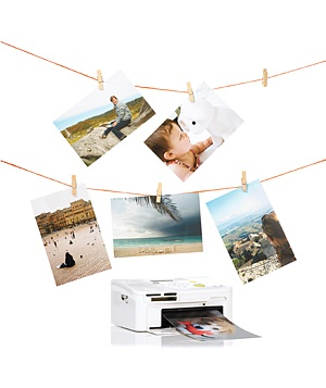 Hanging photos and a photo printer