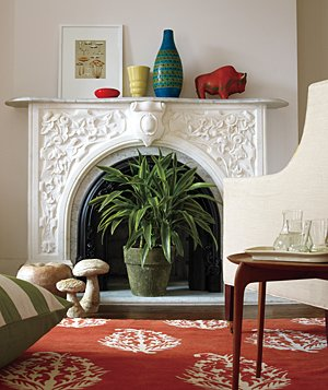 Fireplace and large plant