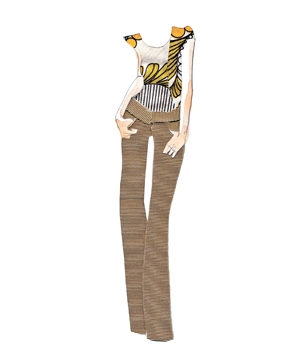 Illustration of woman wearing bootcut pants