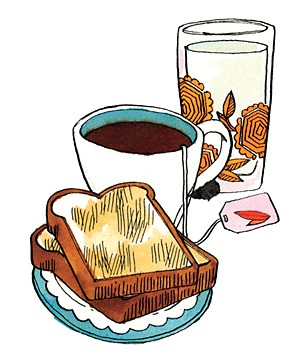 Illustration of toast and tea