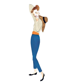 Illustration of a woman wearing cropped pants