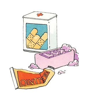 Illustration of bandages, ointment, and soap