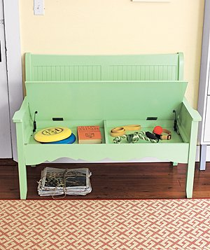 Color Story painted wooden bench