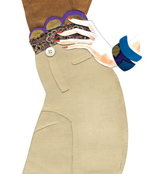 Illustration of a woman wearing khaki pants