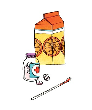 Illustrations of orange juice and a thermometer