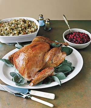 Turkey, stuffing, and cranberry sauce