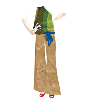Illustration of woman wearing wide-leg pants