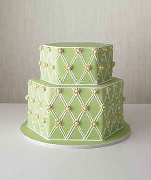 Green hexagonal cake
