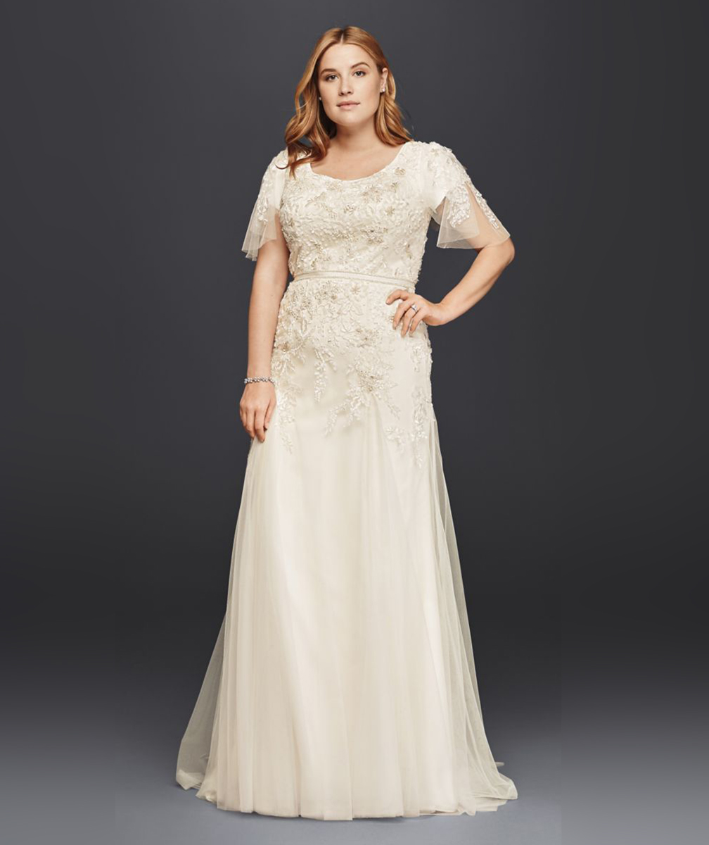 Melissa Sweet for David's Bridal Modest Wedding Dress with Floral Lace