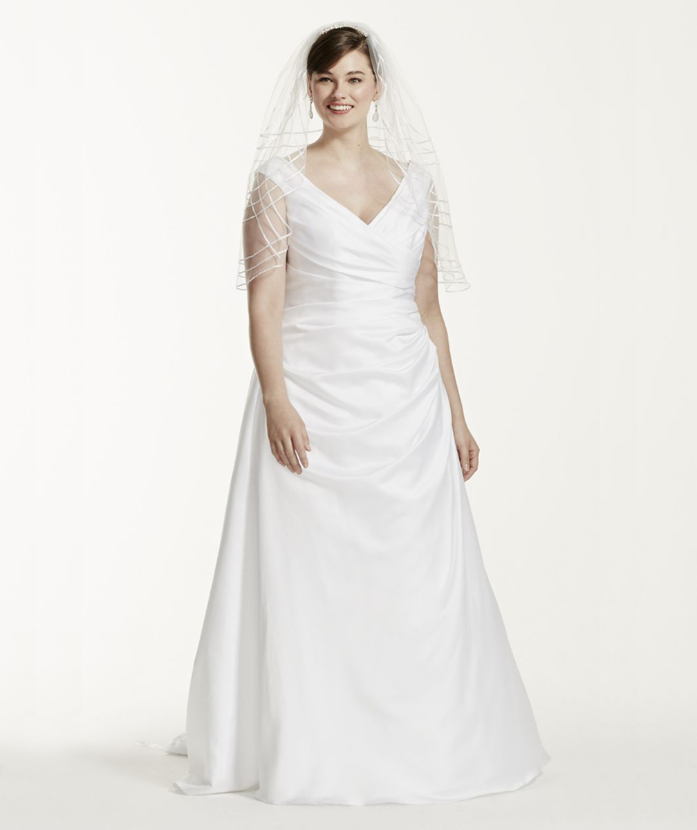David's Bridal Off-the-Shoulder V-Neck Plus Size Wedding Dress