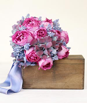 Bouquet of blue hydrangeas