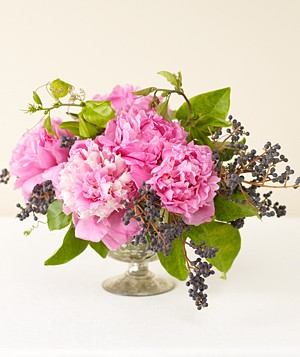 Centerpiece of pink peonies