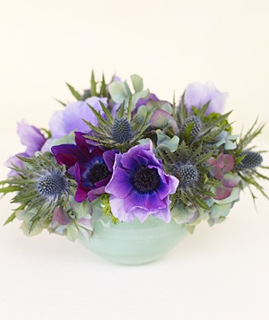 Purple anemone and eryngium centerpiece