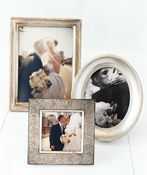Wedding pictures in frames