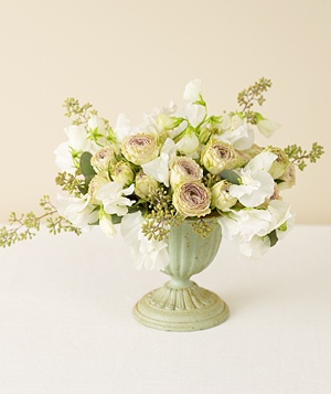 Centerpiece of white sweet pea
