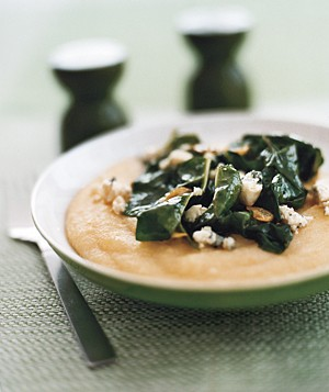 Polenta With Blue Cheese and Garlicky Chard