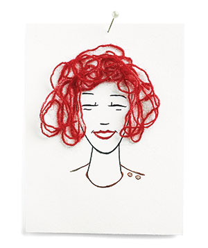 Illustration of model with red hair made of yarn
