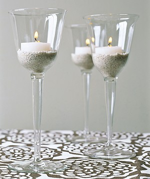 Candles in wineglasses