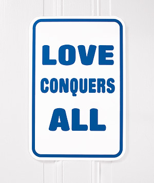 """""""Love Conquers All"""" street sign"""