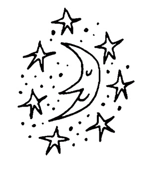 Illustration of the moon and stars