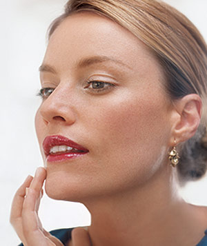 Woman wearing tinted moisturizer