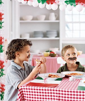 Toss the best pizza party ever, with café tablecloths and stick-on mustaches.