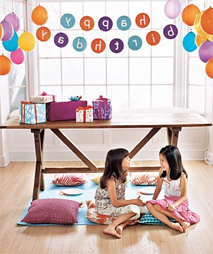 Let kids do a little backward thinking at a party where everything―decorations included―is reversed.