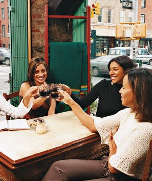 Friends toasting in a neighborhood restaurant
