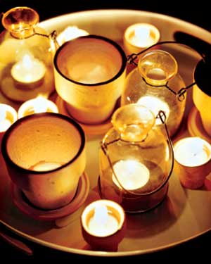 Candles in terra-cotta pots