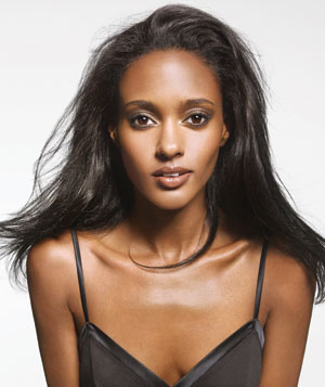 Model with straightened black hair
